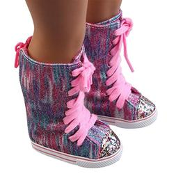 WensLTD Clearance! Glitter Doll Shoes Straps Boots For 18 In