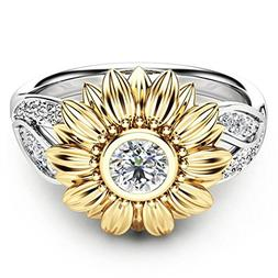 iLH® Clearance Ring,ZYooh Women Two Tone Silver Floral Ring