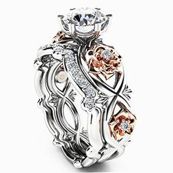 Clearance Rings,ZYooh Women 2-in-1 Fashion Floral Diamond Ri