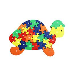 Meshion Colorful Cute Turtle Letter & Numbers Puzzles Wooden
