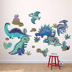 Wallmonkeys Cool Blue Dinosaurs Wall Decal Sticker Set for K