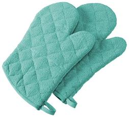 """DII 100% Cotton, Terry Oven Mitts 7 x 13"""", Heat Resistant, M"""