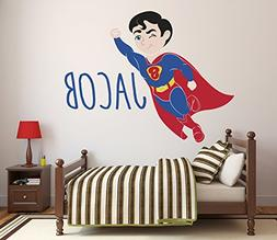 Custom Name Superman Wall Decal Baby Boy Kids Decor Personal