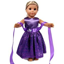 18 Inch Doll Clothes - Beautiful purple Dress with Dots Outf