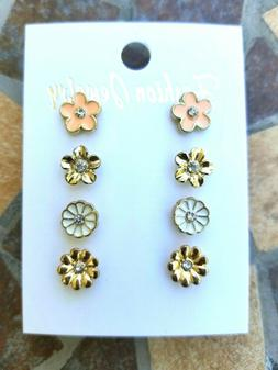 Fashion Earrings Under $10 - Enamel Coated & Gold Flower Mix
