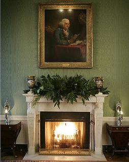 Fireplace in White House Green Room under Benjamin Franklin