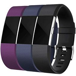 Maledan For Fitbit Charge 2 Bands , Black, Blue and Plum, Sm