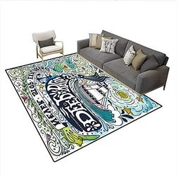 Floor Mat,Cute Whale on Wavy Ocean Design Swimming to an Isl