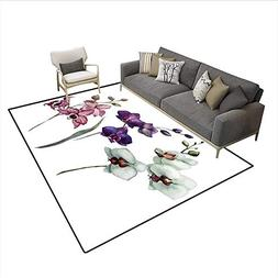 Floor Mat,Lovely Orchids Three Colors Blooming Flourishing E