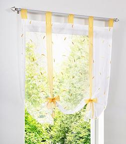 1pcs Floral Embroidered Tie-Up Roman Shades Tap Top LivebyCa