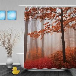 Foggy Mystic Forest During Fall Bathroom Shower Curtains Wat