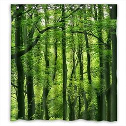 Beautiful Fresh Green Forest Fabric Shower Curtain 66X72