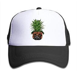 Kid's Funny Pineapple Pug Trucker Mesh Baseball Hats Pink