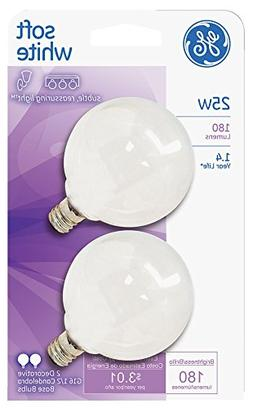 GE2PK25W WHT Globe Bulb, Pack of 6