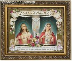 """God Bless Our Home Picture 8"""" x 10"""" Print 11"""" x 14"""" Gold Fra"""