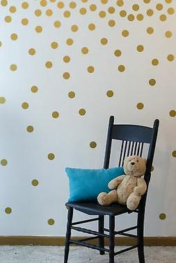 Gold Wall Decal Dots  | Easy to Peel Easy to Stick + Safe on