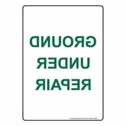 Ground Under Repair Sign, 10x7 inch Plastic for Recreation,