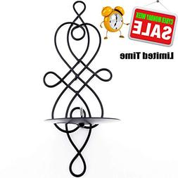 Home Candlestick Holder, Swirling Iron Hanging Wall Sconce C