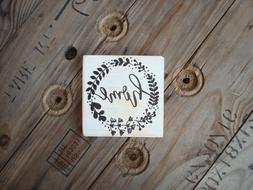 Home with wreath handmade wooden plaque. Rustic wood decor.