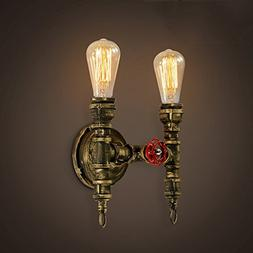 Industrial Vintage 2 Lights Wall Sconce-Ruanpu Steampunk Pip