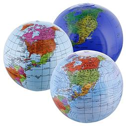 "TCP Global 12"" Inflatable World Globes  - Political, Topogra"