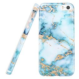luolnh iPhone 5 5S Case, Aquamarine and Gold Marble Design S