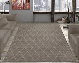 "Ottomanson Jardin Collection Sisal Area Rug, 5'3"" X7'3, Grey"