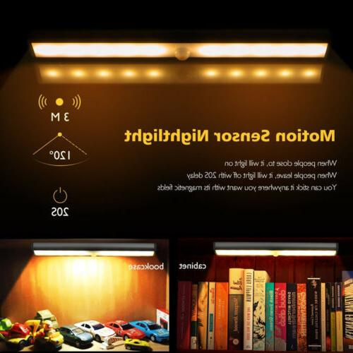 10 LED USB Rechargeable PIR Closet Night Under Lamp