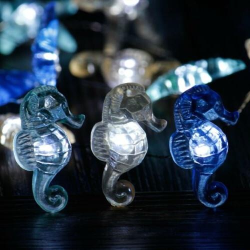 10 ft 30 LED Nautical Theme String Lights Seahorse