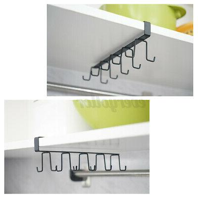 10Cup 6 Hook Under Shelf Cup Mug Holder Hook Kitchen