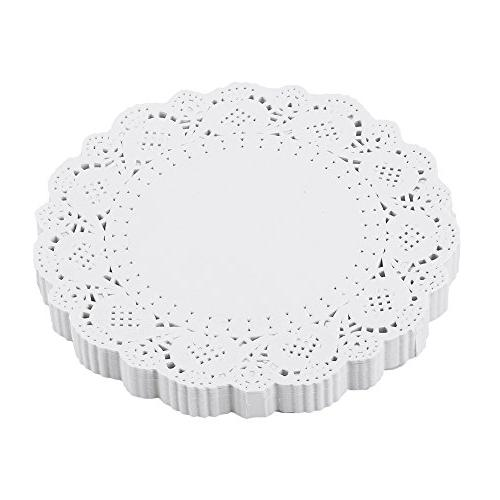 DECORA 5.5 inch White Round Paper Lace Doilies for Wedding T