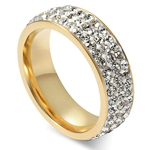 MoAndy Womens Titanium Stainless Steel High Polished 18K Gol