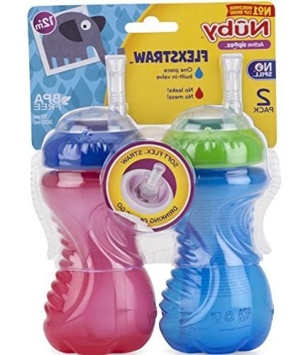 Nuby No-Spill with Straw, Ounce, Colors Vary
