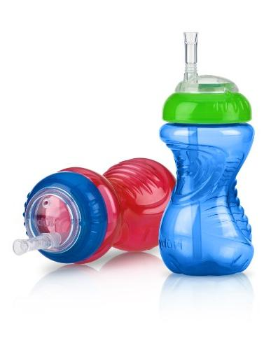 Nuby 2-Pack No-Spill Cup with Flex Straw Colors May Vary 10 Ounce