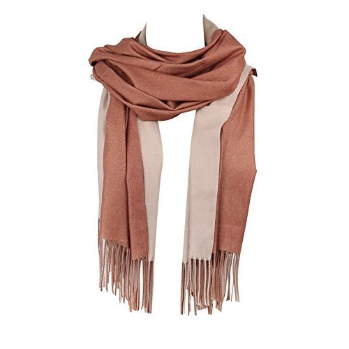 SOJOS Both-Side Colored Reversible Cashmere Wool Women Scarf
