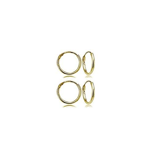 Set of 2 Pairs Yellow Gold Flashed Sterling Silver Small End