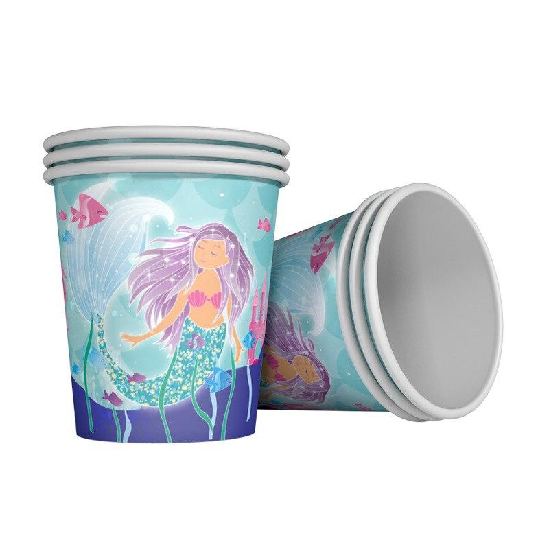 Birthday Mermaid Party Disposable Tableware <font><b>Cups</b></font> Straws Tablecloth the Sea Party