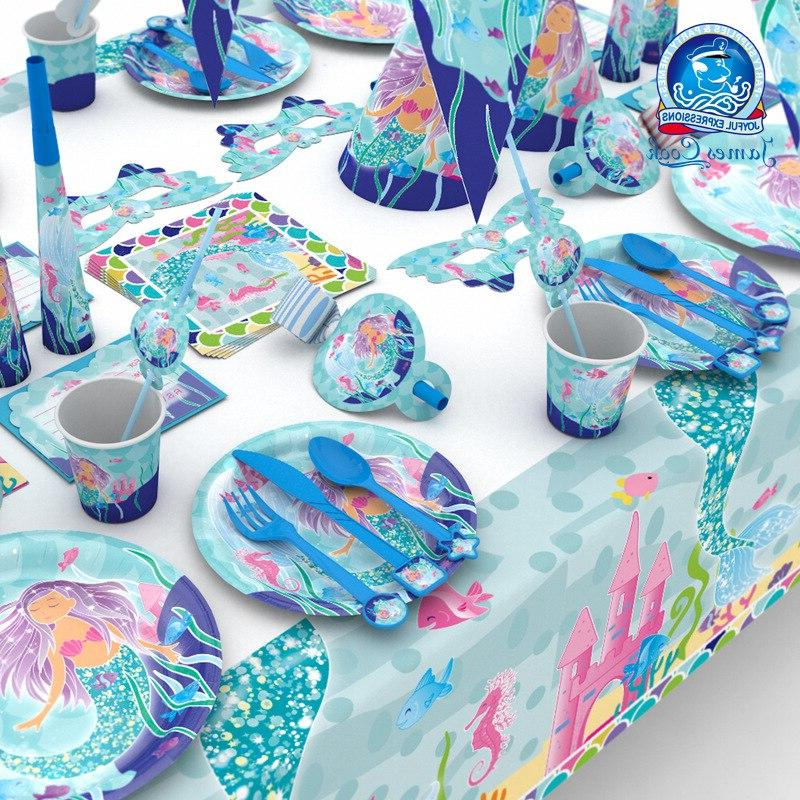 Birthday Mermaid Party Tableware Set Napkins <font><b>Cups</b></font> Straws the Shower Party