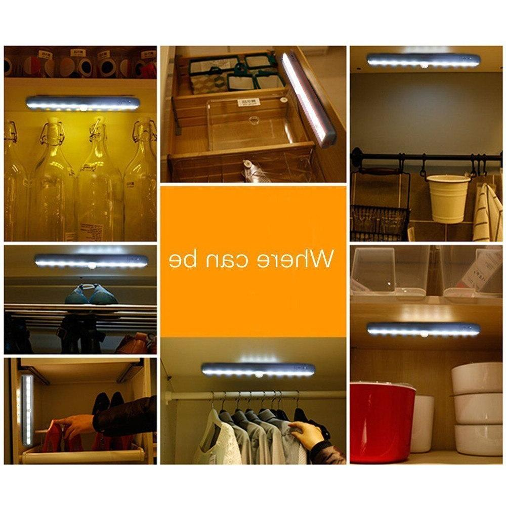 <font><b>10</b></font> LED Motion Sensor <font><b>Light</b></font> Wardrobe Drawer Lamp Bulb Bed Stairs Night <font><b>Lights</b></font>