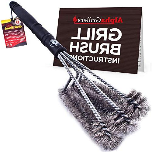 "Alpha Grillers 18"" Grill Brush. Best BBQ Cleaner. Safe For A"