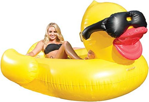 Inflatable Duck Pool Float w Cup Holders & Handles Kids Adul
