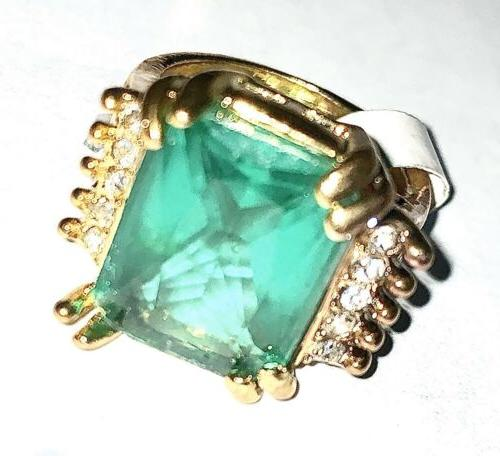 Mens 14kt Gold Plated Emerald With Simulated Diamonds Size 7