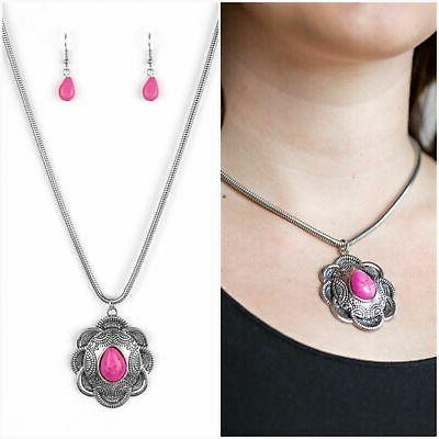 paparazzi under 10 mojave meadow pink necklace