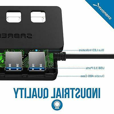 Sabrent 4-Port USB Hub with Switches LEDs New
