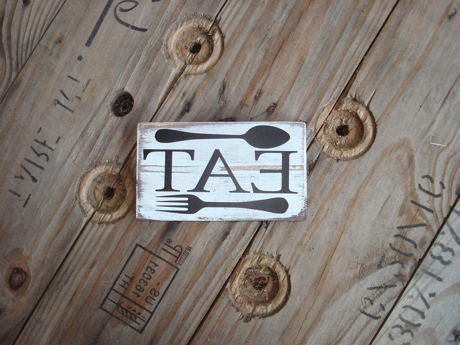 wooden sign eat wood kitchen decor great