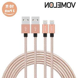 Lightning Cable, 2Pack 10FT Nylon Braided Extra Long Tangle-