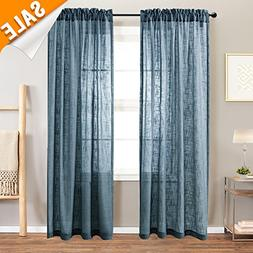 Lazzzy Linen Textured Sheer Curtains for Living Room, Rod Po