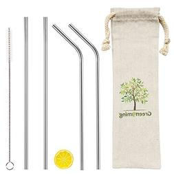 Long Reusable Metal Straws - 9 inch Straight & Bent Stainles