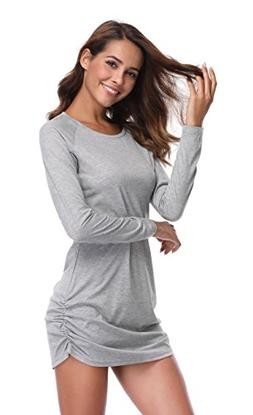 MISS MOLY Women's Long Sleeves Ruched Casual Tunic Round Nec