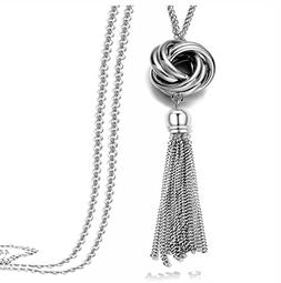 Multi Link Tassel End Statement Y Necklace Knot Snake Chain